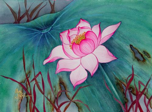 paper solitary lotus i